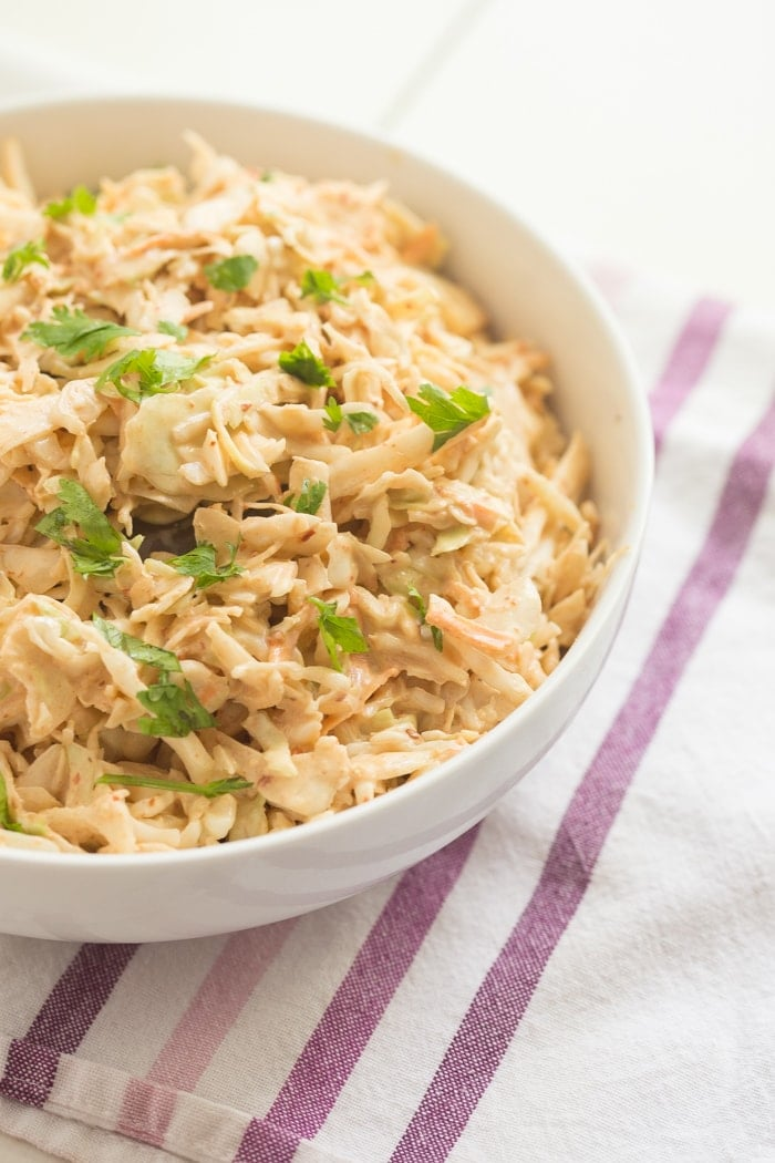 Chipotle coleslaw - perfect with BBQ and for summer potlucks and get-togethers /// 40 Aprons