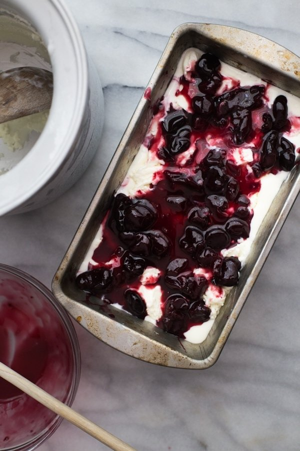 Goat cheese & roasted cherry ice cream - Jeni's recipe. The best ice cream I've ever, ever tasted. /// 40 Aprons