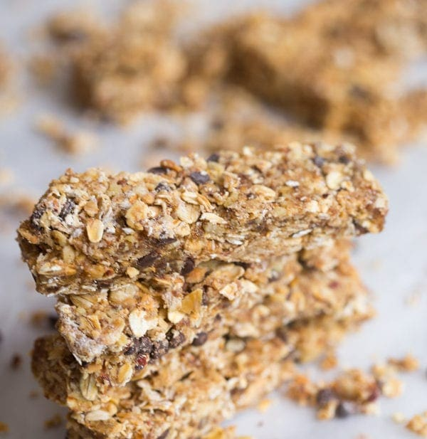 Peanut Butter Chocolate Protein Granola Bars (Vegan Option, GF)