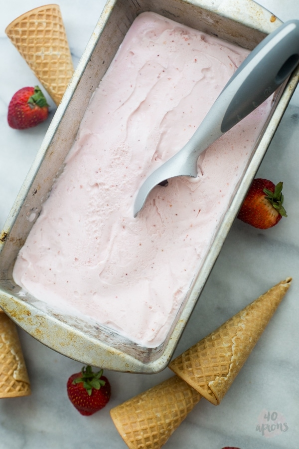 Roasted strawberry and buttermilk ice cream - Jeni's Ice Creams recipe. The perfect strawberry ice cream. // 40 Aprons