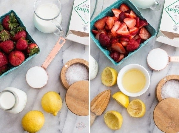 Roasted strawberry and buttermilk ice cream - Jeni's Ice Creams recipe. The perfect strawberry ice cream. // 40 Aprons