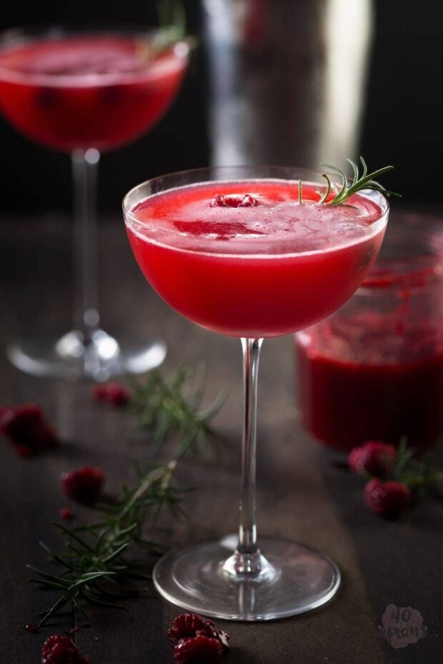 Rosemary raspberry vodka fizz - so flavorful and gorgeous, perfect for a winter kick! // 40 Aprons