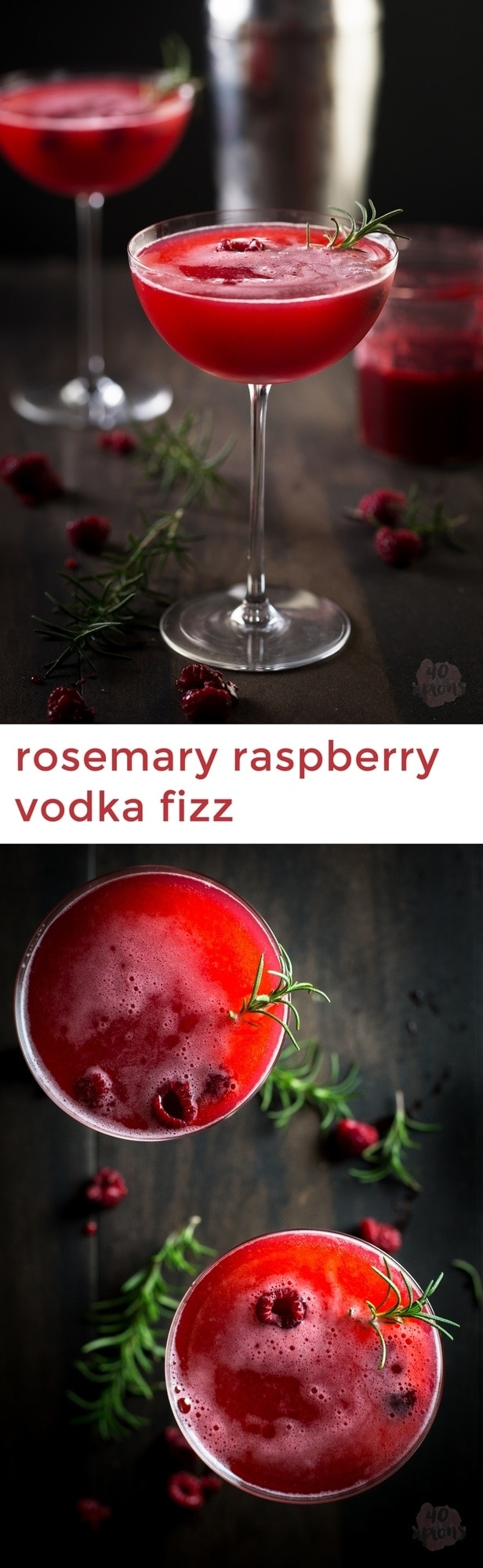 Rosemary raspberry vodka fizz - so flavorful and gorgeous, perfect for a winter kick!