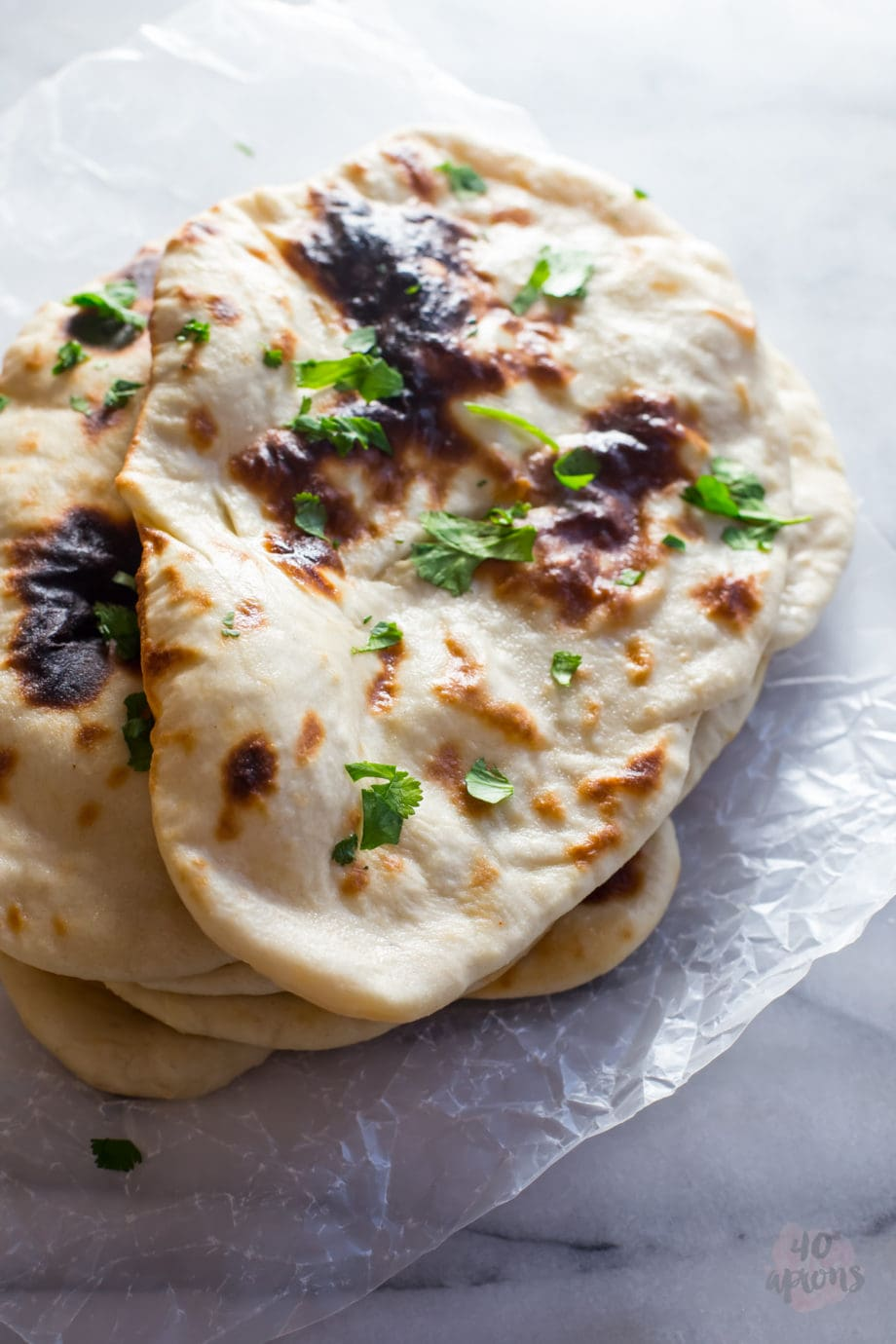 Perfect naan. Chewy, tender, perfect with Indian dishes. // 40 Aprons