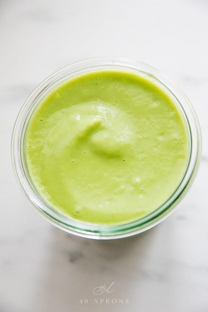 Avocado salsa in a glass jar