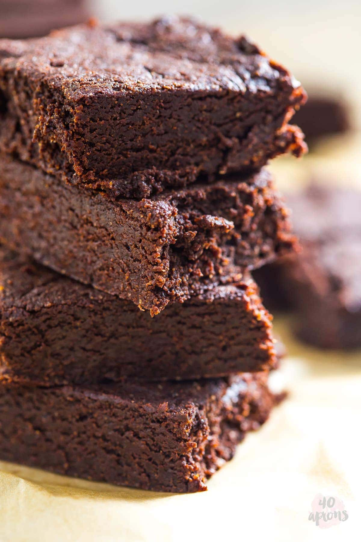 Healthy fudgy brownies - rich, fudgy, dense, and chewy, but with no refined sugar or flour! Everything is awesome! // 40 Aprons