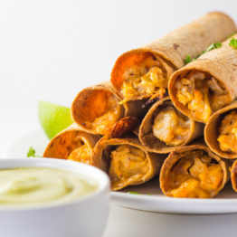 Cheesy Chicken Taquitos with Avocado Salsa (Whole Wheat!)