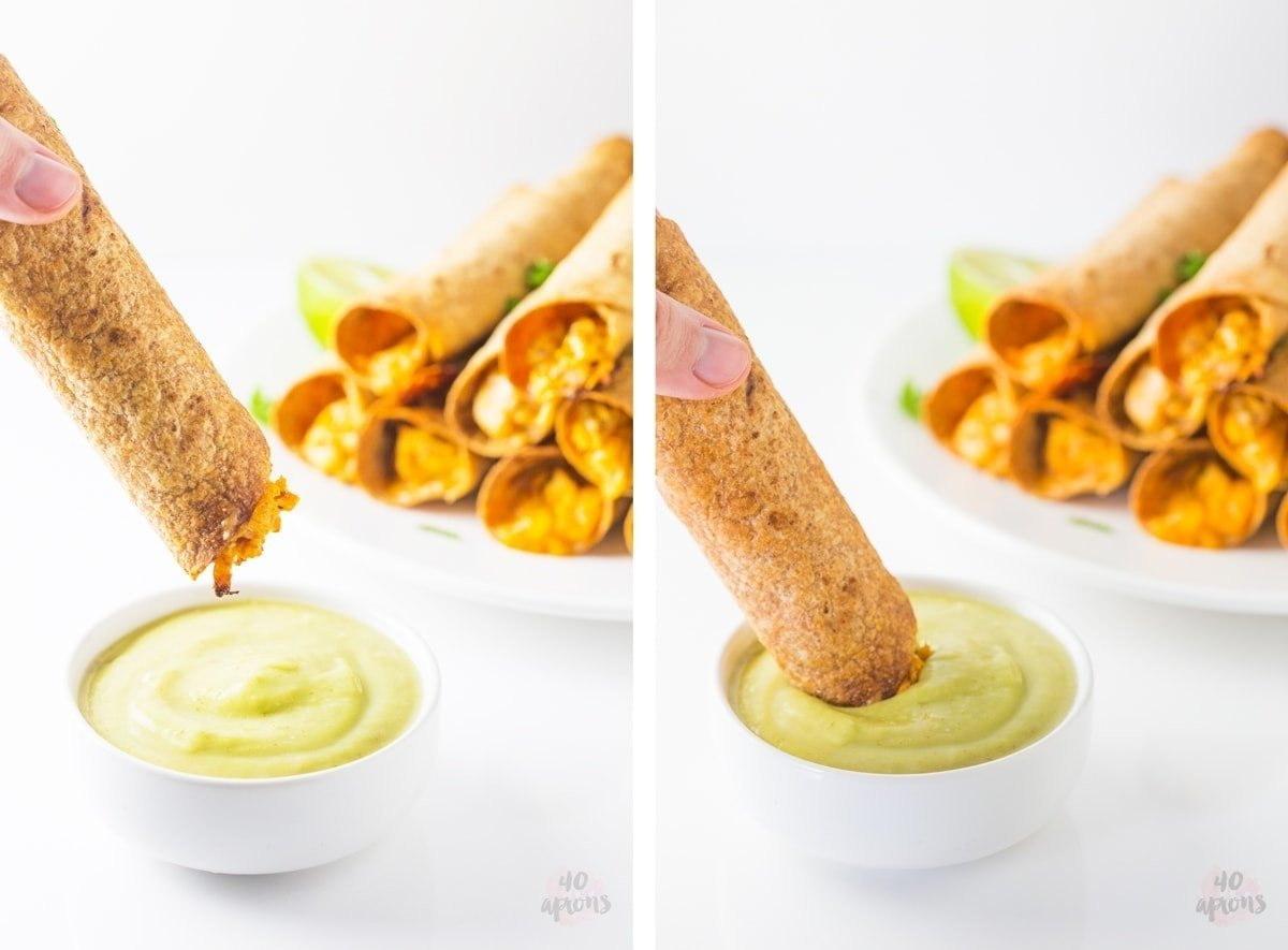 Cheesy chicken taquitos with avocado salsa (whole wheat!) // 40 Aprons
