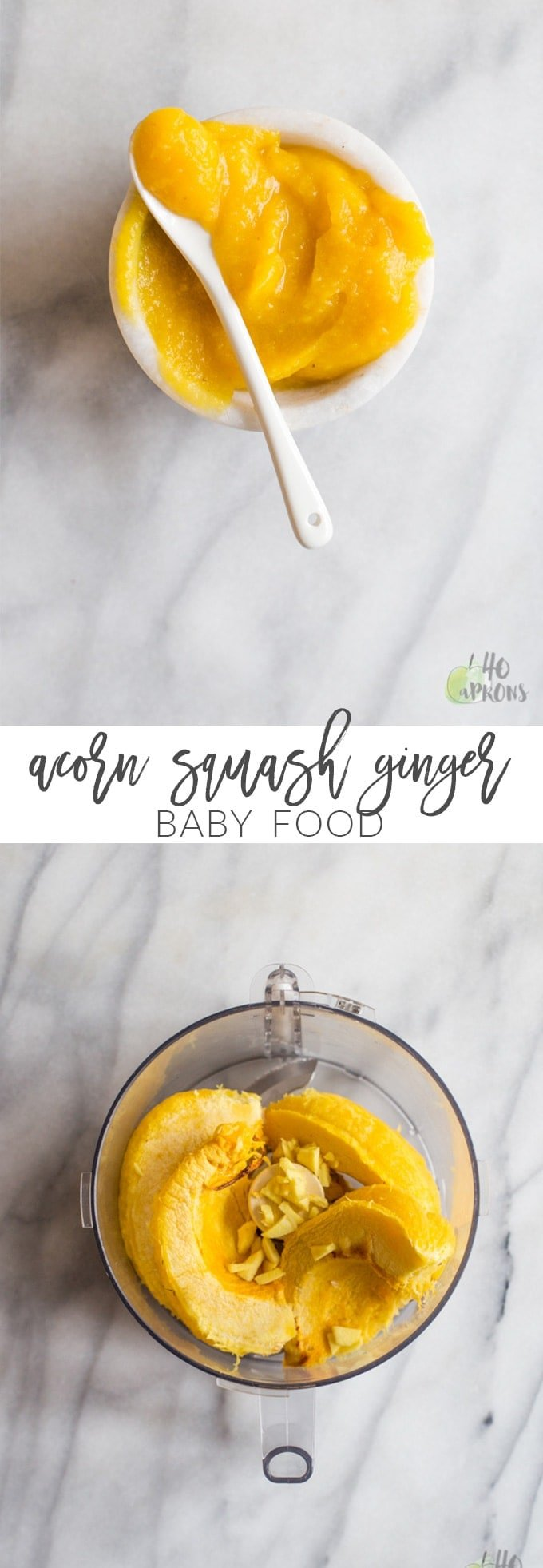 Acorn squash and ginger baby food puree. Easy, cheap, and so flavorful and nutritious for baby. Great for big kids too!