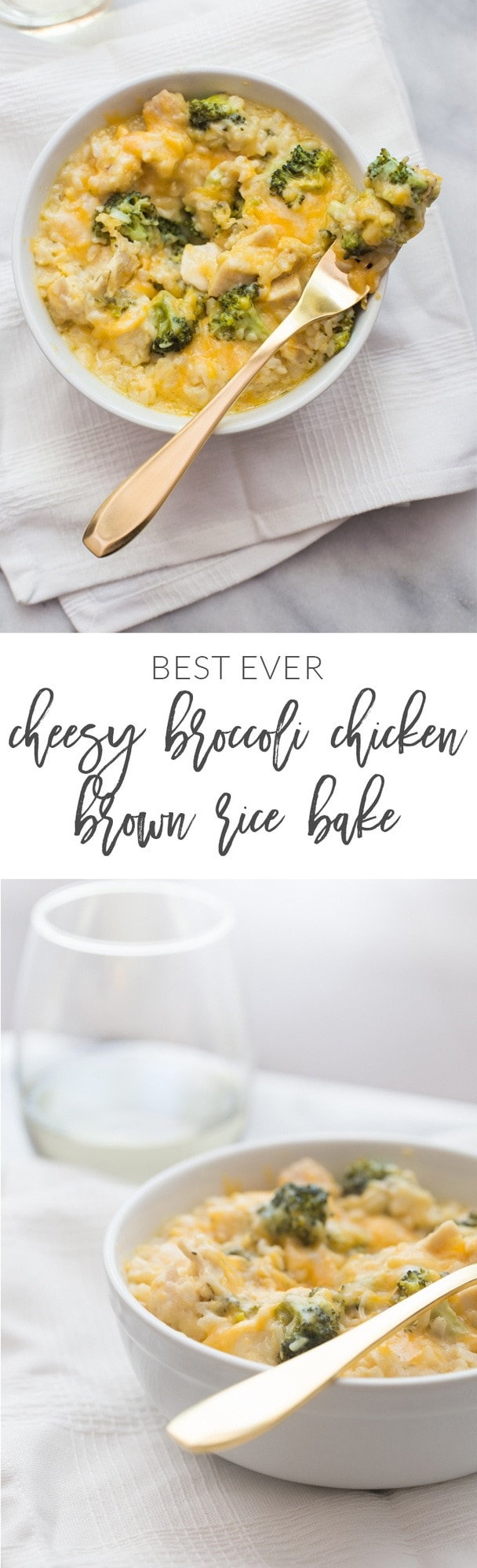 Cheesy broccoli chicken brown rice bake. The best broccoli chicken rice casserole you've ever had (and will ever have.. dangit!) // 40 Aprons