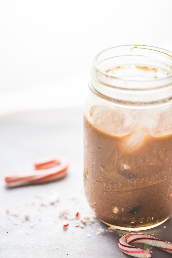 This paleo iced peppermint mocha uses cocoa powder and cold brew concentrate for the perfect vegan, clean eating holiday coffee drink. Also a vegan iced peppermint mocha or clean eating iced peppermint mocha!
