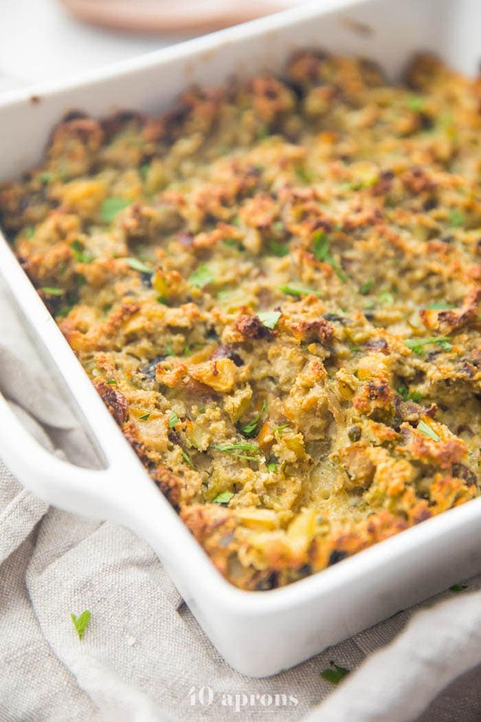 Healthy paleo stuffing recipe in a white baking dish