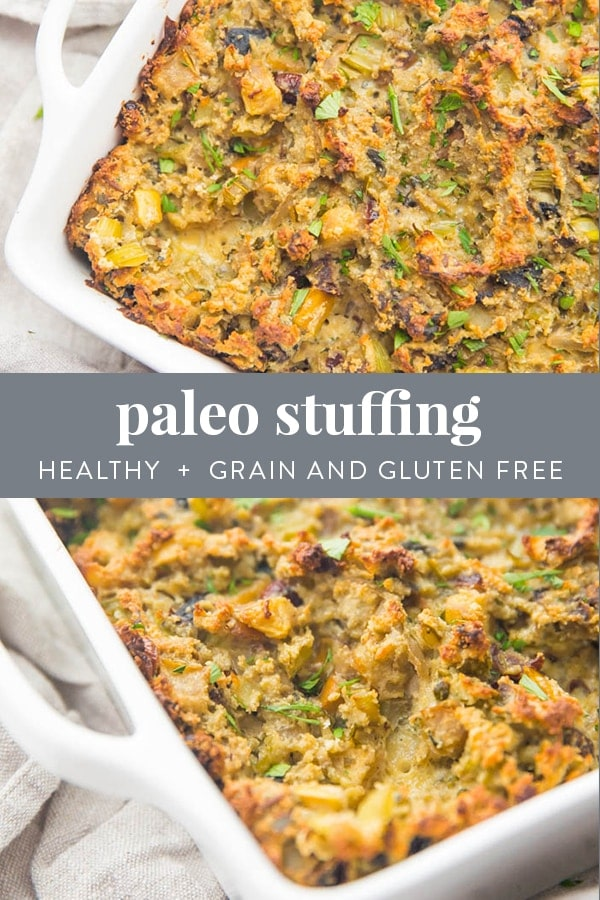 Paleo Stuffing Recipe (Healthy, Gluten Free, Grain Free) Pinterest image