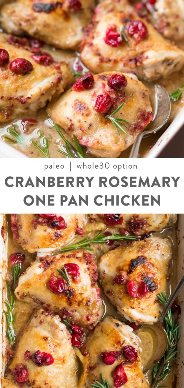 Cranberry Rosemary One Pan Chicken (Paleo, Whole30 Option) Pinterest image