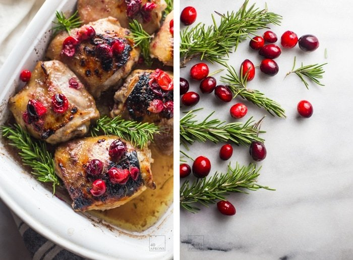 This cranberry rosemary one-pan chicken is an easy, healthy dinner you're going to obsess over during the Christmas and holiday season. Paleo? Oh yes. White wine sauce? Oh mommy. One pan? Ding ding ding!