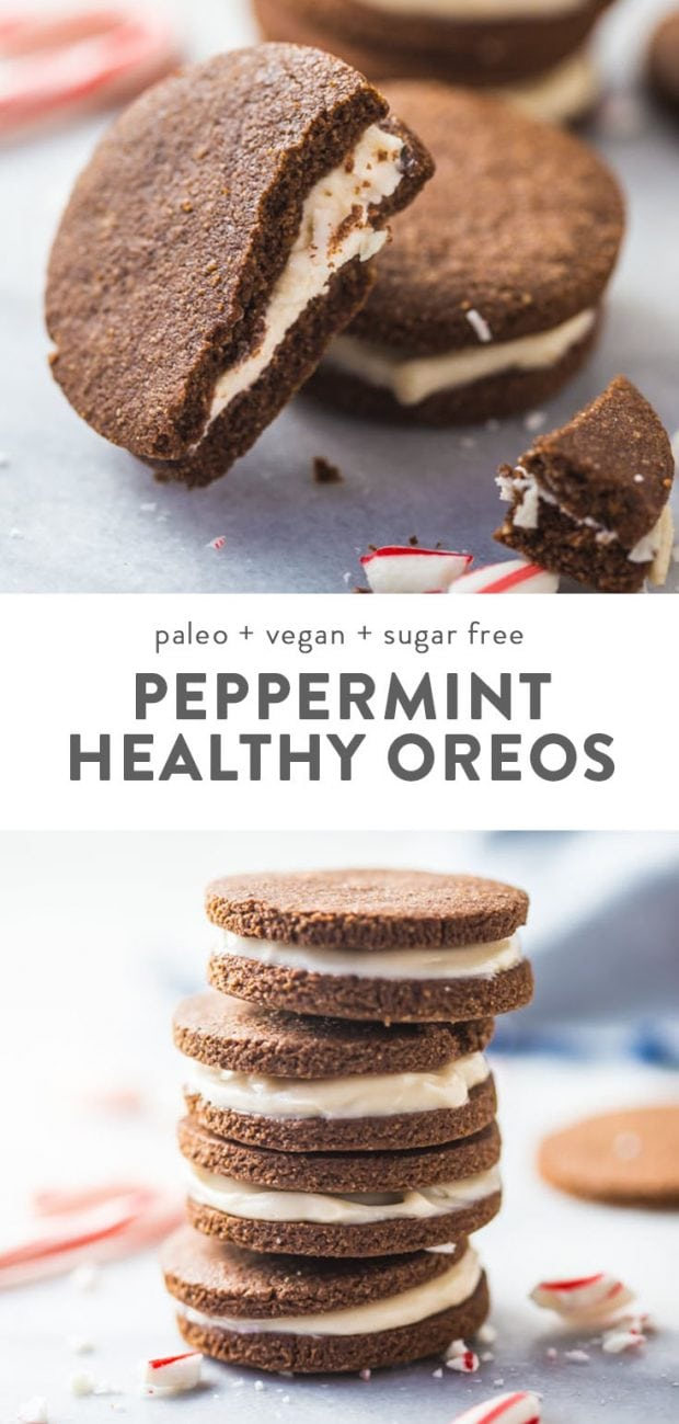 A stack of healthy and gluten free paleo peppermint oreo cookies.