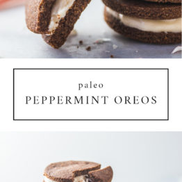 Paleo Peppermint Oreos. The perfect paleo Christmas cookies, these paleo Oreos are delicious. And who doesn't love peppermint Oreos?! Dairy-free, grain-free, and no processed sugar!