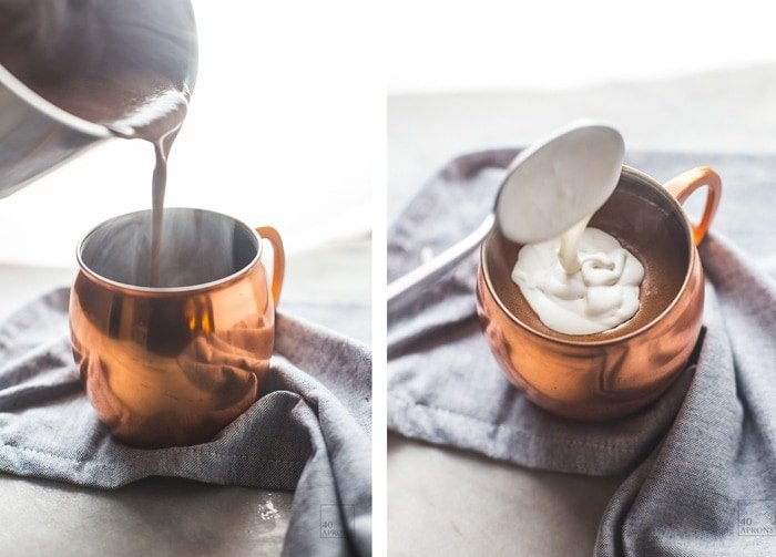 This paleo peppermint hot chocolate (or vegan peppermint hot chocolate) is easy and quick, luxuriously chocolatey and perfectly minty. You'll love this healthy peppermint hot chocolate - pinky promise!