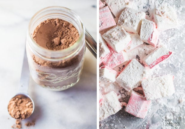 This spiked peppermint hot chocolate gift kit is a perfect easy, cheap gift idea for Christmas. Ideal for teachers, childcare providers, coworkers, family, and friends, they'll love the creamy hot chocolate mix, homemade peppermint marshmallows, and peppermint schnapps for that extra kick!