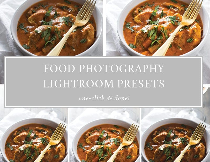 Food Photography Presets for Lightroom. Vintage food photography looks, dark and moody, backlit... Almost every food photography situation is covered in this food photography presets pack!