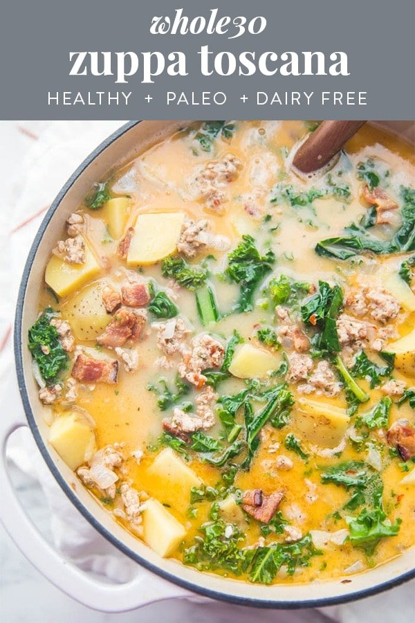 Whole30 Healthy Zuppa Toscana Recipe (Paleo) Pinterest graphic