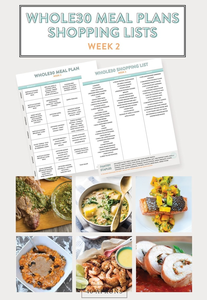 Whole30 Meal Plans and Shopping List (Printable): Week 2