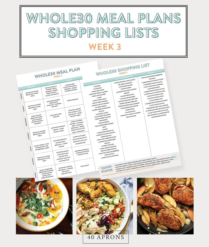 Whole30 Meal Plans and Shopping List (Printable): Week 3