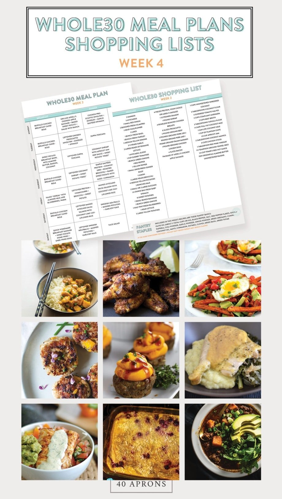 Whole30 Meal Plans and Shopping List (Printable): Week 4