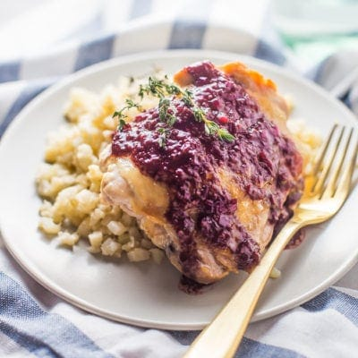5-Ingredient Whole30 Chicken Thighs with Raspberry-Balsamic Sauce (Paleo)