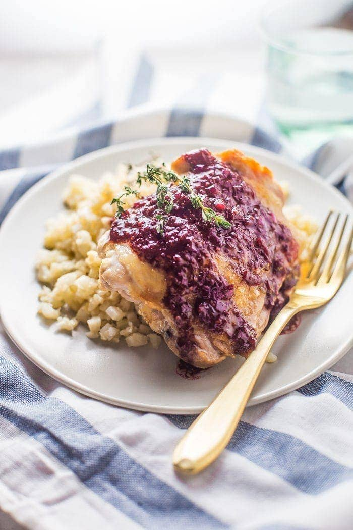 5-Ingredient Whole30 Chicken Thighs with Raspberry-Balsamic Sauce. These paleo chicken thighs are perfectly crisp with an elegant and super flavorful raspberry-balsamic sauce.