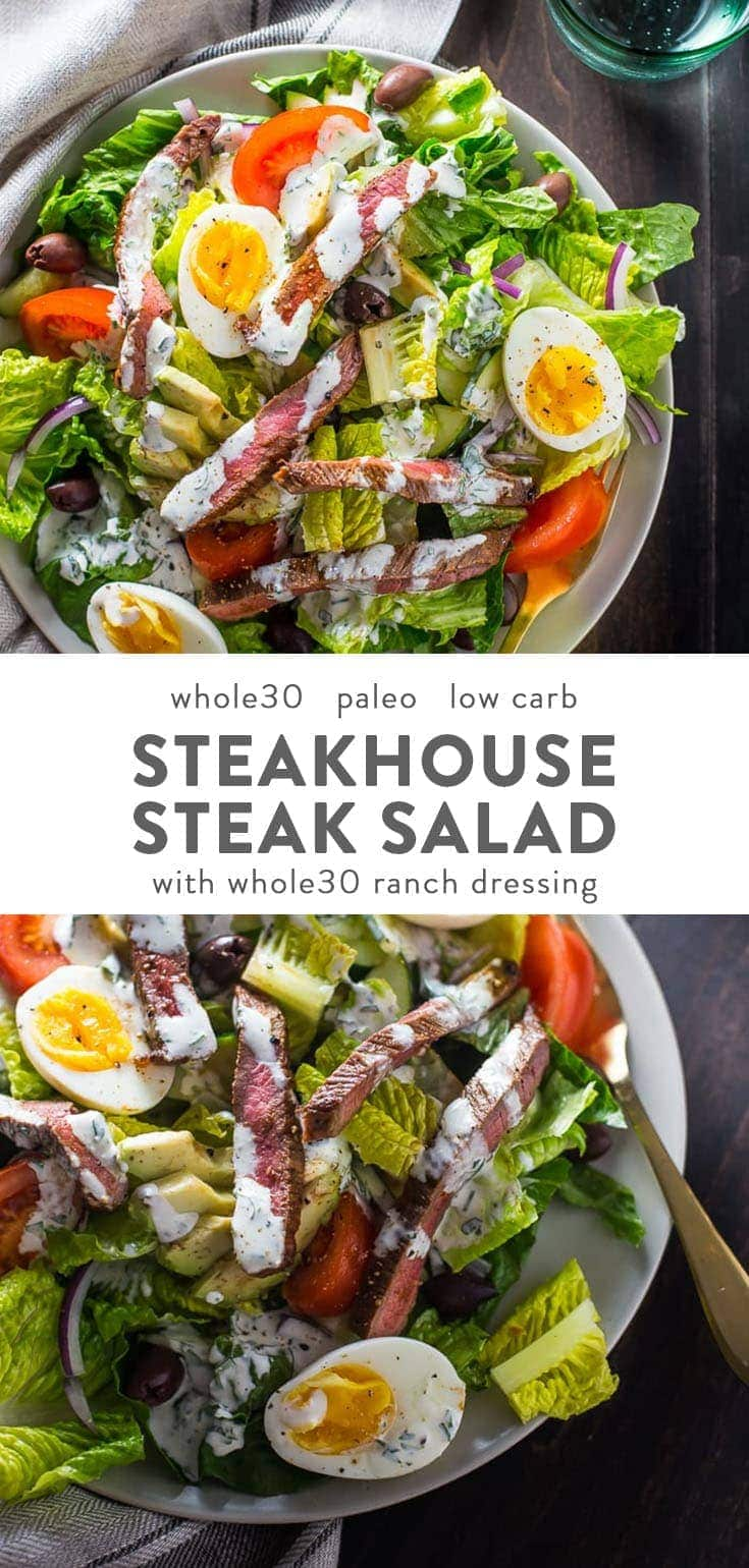 Whole30 Steak Salad Steakhouse Style. This Whole30 salad is stacked with protein and flavor, and you'll keep this in your paleo salad rotation! #whole30 #salads