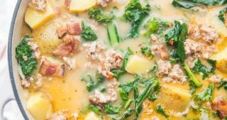 A large pot of Whole30 healthy zuppa toscana recipe