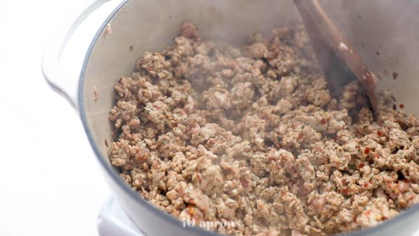 Combine sausage ingredients then brown in a pot