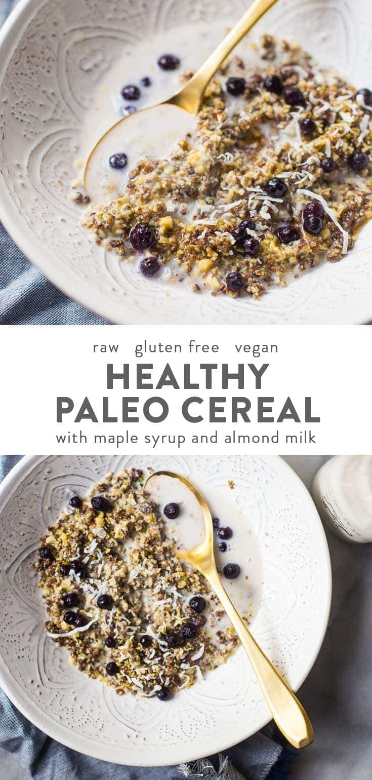 This paleo cereal recipe is quick, easy, and versatile and will transform your mornings. Perfectly crunchy and ready in 2 minutes, you'll love having a batch of this paleo cereal in your pantry at all times! This recipe can be eaten as a Whole30 cereal, too, by simply omitting maple syrup during serving. #paleo #raw #vegan #breakfast