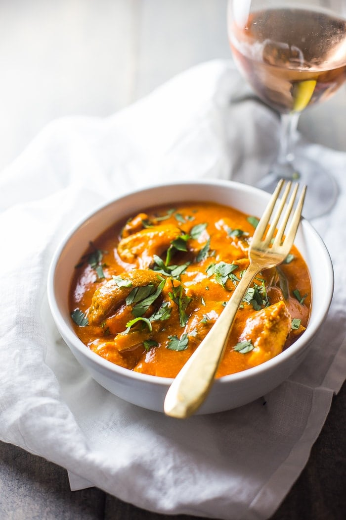 This restaurant style chicken tikka masala recipe will fool even the most hardcore of takeout enthusiasts. This paleo chicken tikka masala recipe is rich and creamy with tender bites of chicken, and this dish also works as a Whole30 chicken tikka masala recipe that absolutely everyone would love. Healthy and a wonderful paleo dinner or Whole30 dinner.