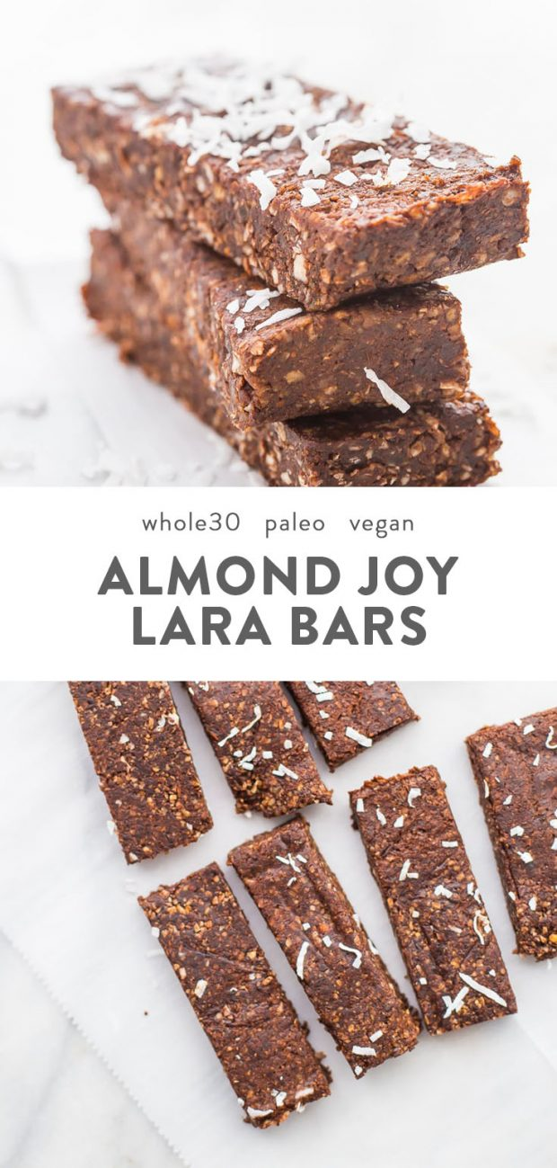 A stack of paleo almond joy copycat lara bars on a marble surface.