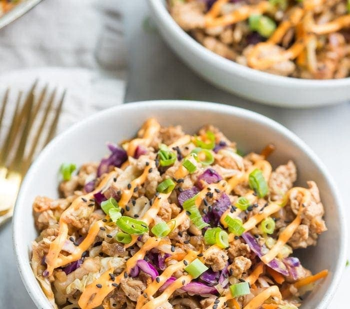 Egg Roll in a Bowl with Creamy Chili Sauce (Whole30, Paleo)