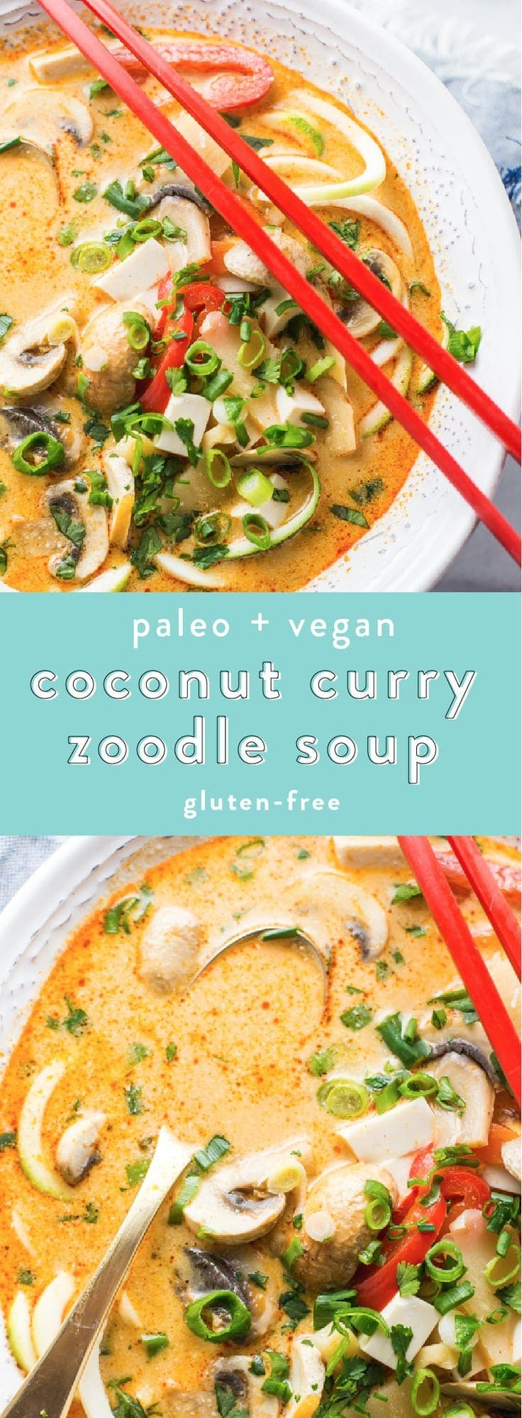 This paleo coconut curry zoodle soup is quick and delicious, loaded with creamy coconut milk, intensely flavorful red curry paste, and zoodles. This recipe is a wonderful paleo dinner or paleo soup recipe to add to your collection. Low carb yet filling, you can make this paleo coconut curry zoodle soup a vegan coconut curry zoodle soup with an easy swap!