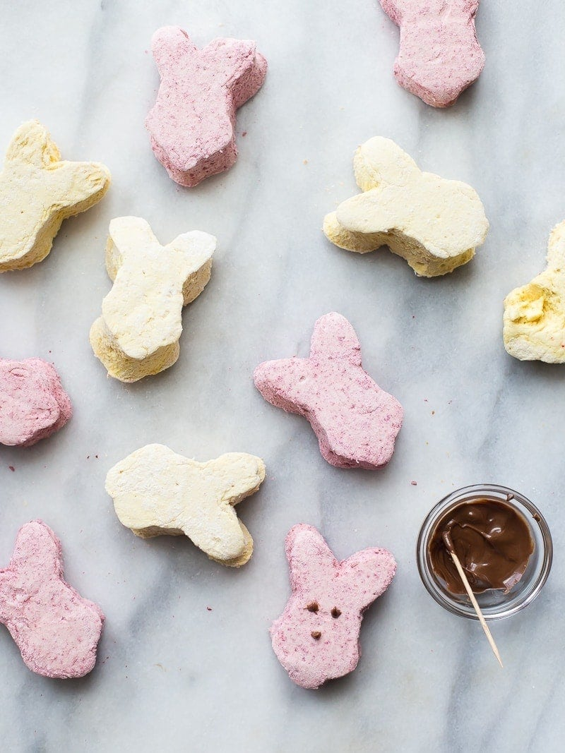 These paleo peeps are the perfect paleo Easter candy. Made from homemade raspberry paleo marshmallows