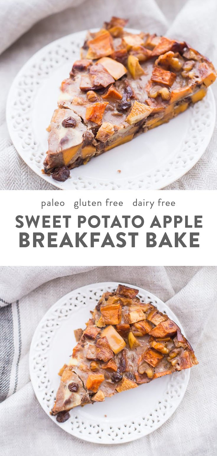 A slice of paleo sweet potato and apple breakfast bake on a white plate.