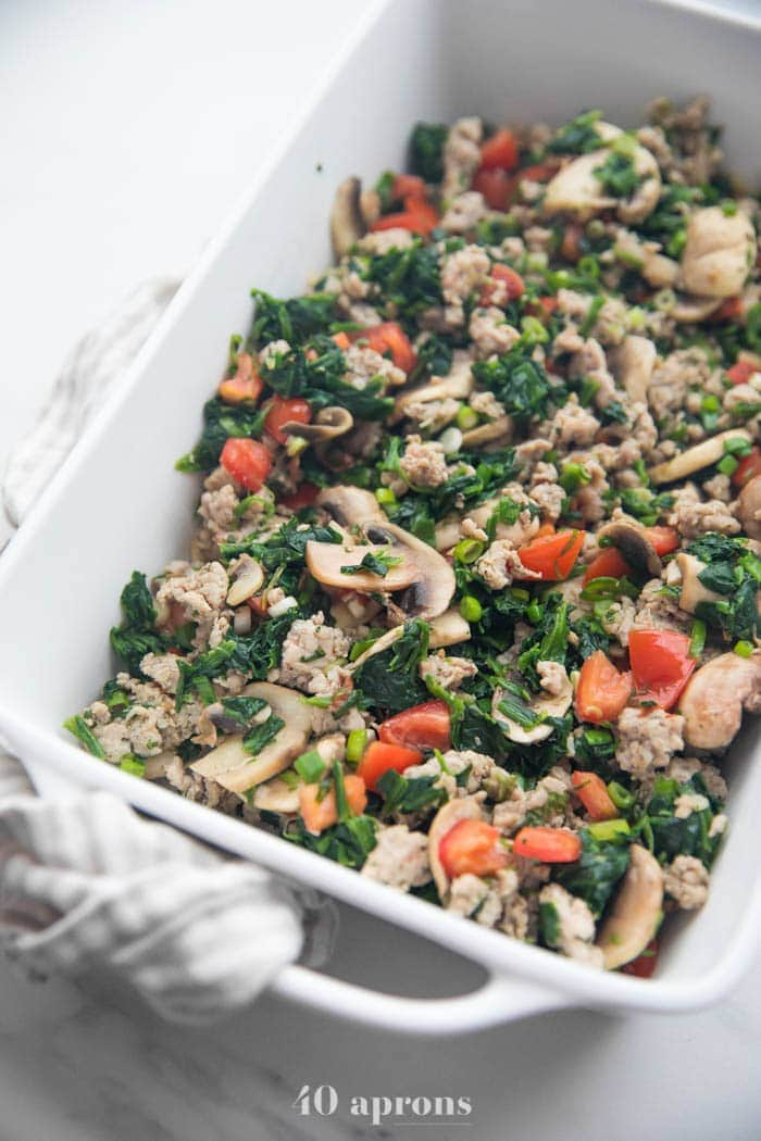 Veggies and sausage for Whole30 breakfast casserole