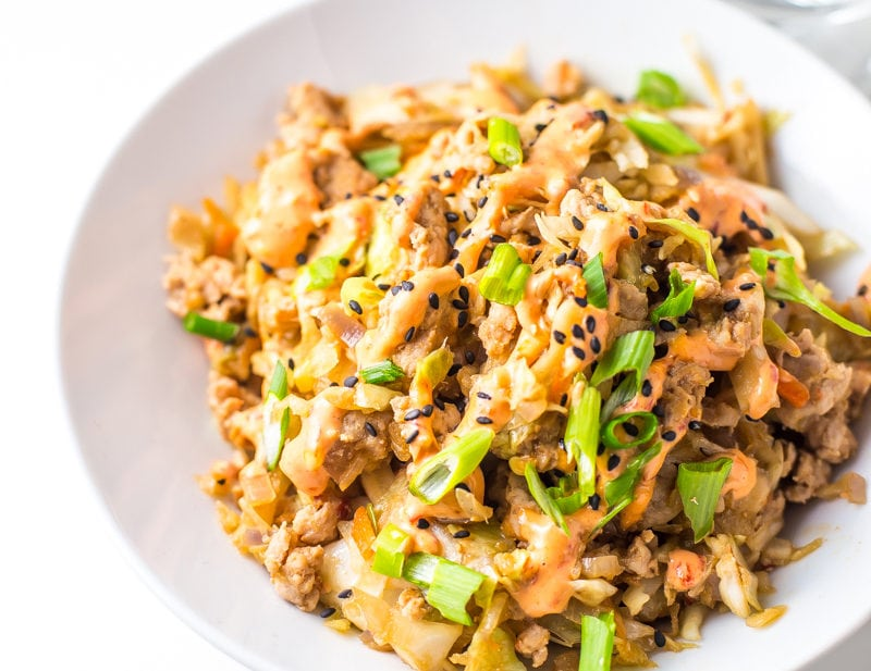 Whole30 Egg Roll in a Bowl with Creamy Chili Sauce (Paleo)