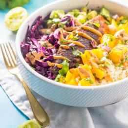 Whole30 Fish Taco Bowls with Mango Salsa, Chipotle Aioli, Coconut-Lime Cauliflower Rice (Paleo)