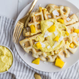 Paleo Waffles with Mango-Coconut Cream