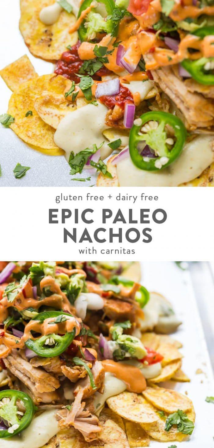A plate of paleo nachos with vegan queso blanco, guacamole, pico de gallo, guajillo salsa, and chipotle sauce