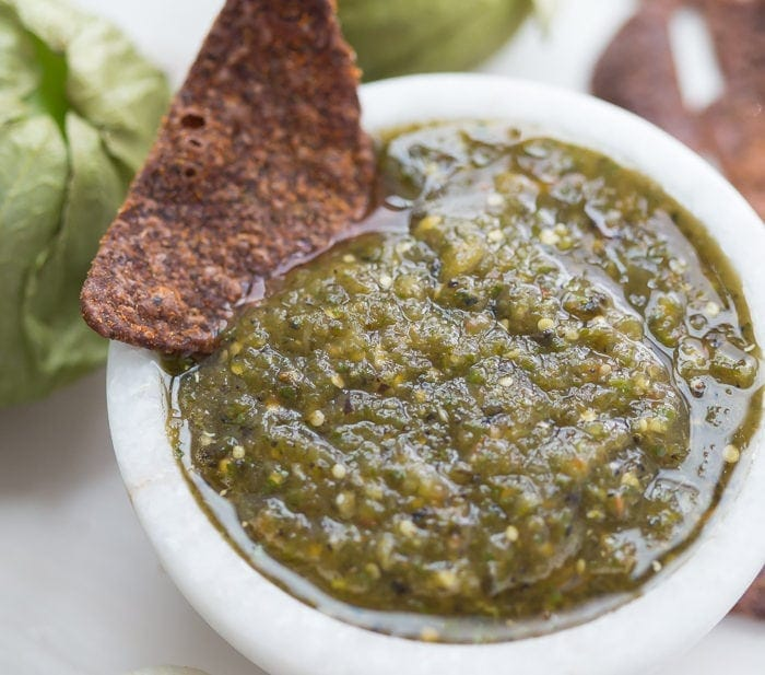 Roasted Salsa Verde with Tomatillos and Chiles (Whole30 Salsa)