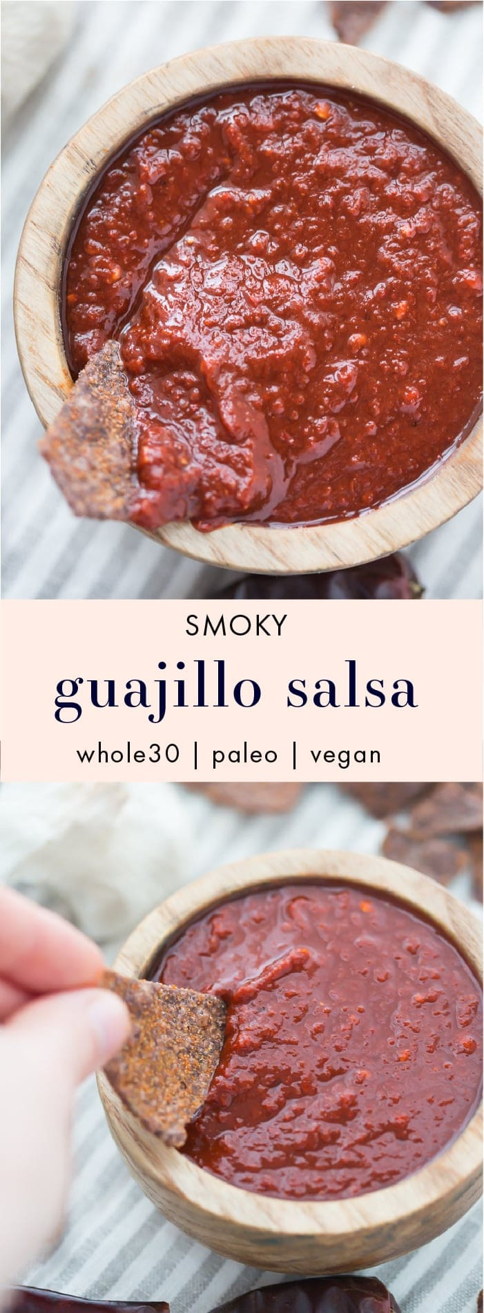 This smoky guajillo salsa recipe is deep and flavorful, full of toasted, dried guajillo chiles, garlic, and fresh tomatoes. It's the perfect smoky salsa recipe to keep in the fridge (at all times, pretty sure) so you can put it on all the things. Inspired by my favorite local taqueria salsa, you'll love this smoky salsa recipe, especially during warmer weather! Buy dried guajillo chiles here.