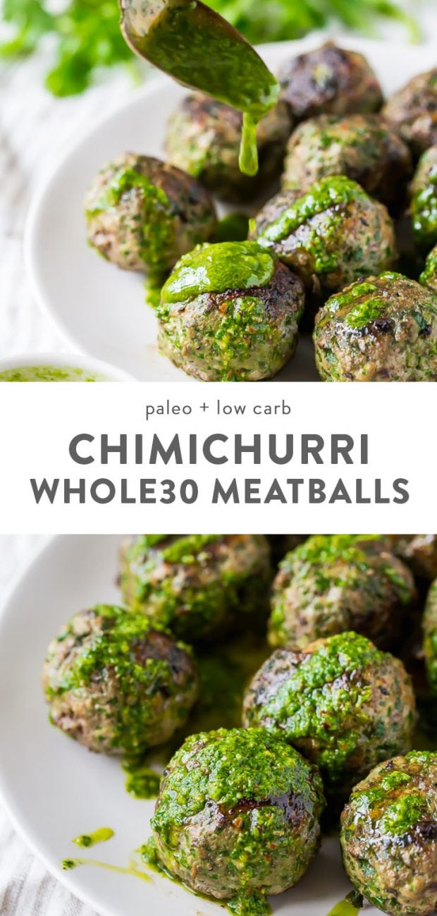 Whole30 meatballs tossed with healthy chimichurri sauce.