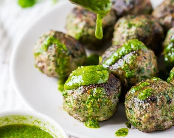 Chimichurri Whole30 Meatballs with Swiss Chard (Paleo)