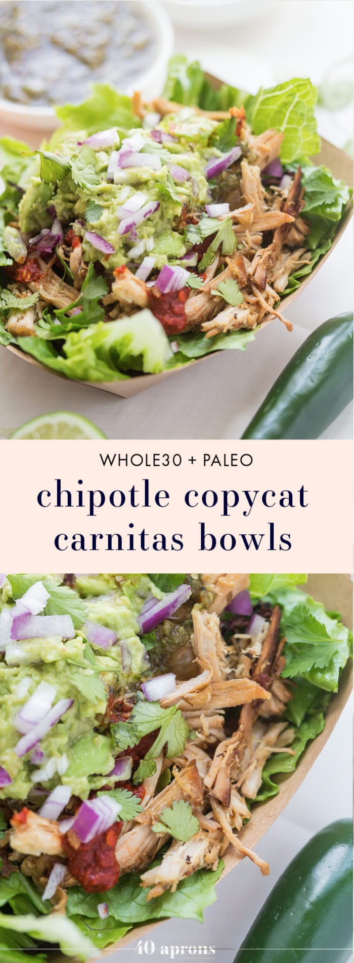 This Chipotle copycat Whole30 carnitas bowl is a take on the Whole30 Chipotle favorite and is a fantastic Whole30 dinner, especially for warmer weather! I just can't think of a better way to eat Whole30 Mexican food. Sorry, Chipotle!